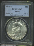 Eisenhower Dollars: , 1972-S $1 Silver MS67 PCGS. Mintage: 2,193,056. ...