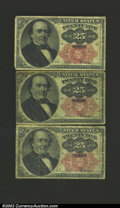 Fractional Currency:Fifth Issue, Fifth Issue 25c, Fr-1308, three examples, all grading VG to Fin...