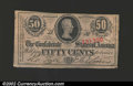 Confederate Notes:1863 Issues, 1863 50 Cents Bust of Jefferson Davis, T-63, AU. ...