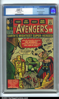 "The Avengers #1 (Marvel, 1963). CGC VF/NM 9.0 Off-white pages. ""70"" written on back cover in pencil. Overstree..."