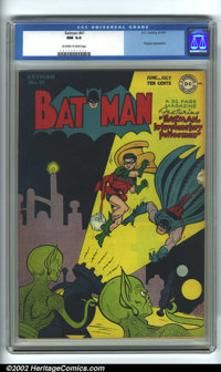 Batman #41 (DC, 1947). CGC NM 9.4 Off-white to white pages. First sci-fi cover & story in BATMAN. Overstreet 200...