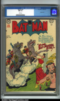 Golden Age (1938-1955):Superhero, Batman #56 (DC, 1949). CGC NM 9.4 White pages. Overstreet 2001 NM 9.4 value = $725....