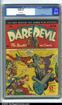 Daredevil Comics #34 (Lev Gleason, 1946). CGC VF/NM 9.0 Off-white pages. Overstreet 2001 NM 9.4 value = $240