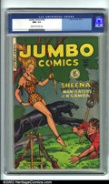 Golden Age (1938-1955):Adventure, Jumbo Comics #142 (Fiction House, 1950). CGC NM+ 9.6 Cream to off-white pages. Overstreet 2001 NM 9.4 value = $130....