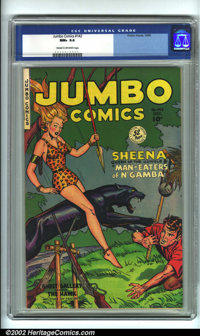 Jumbo Comics #142 (Fiction House, 1950). CGC NM+ 9.6 Cream to off-white pages. Overstreet 2001 NM 9.4 value = $130