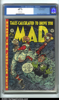 Mad #2 Gaines File pedigree 7/12 (EC, 1952). Gaines File copy, #7 (of 12). CGC NM+ 9.6 Off-white pages. Overstreet 2001...