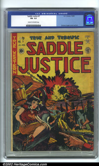 Saddle Justice #7 (EC, 1949). CGC FN- 5.5 Cream to off-white pages. Overstreet 2001 FN 6.0 value = $120