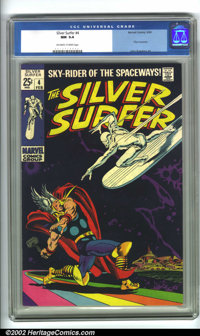 The Silver Surfer #4 (Marvel, 1969). CGC NM 9.4 Off-white to white pages. Thor crossover. Overstreet 2001 NM 9.4 value =...