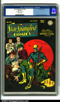 Golden Age (1938-1955):Superhero, Star Spangled Comics #44 (DC, 1945). CGC VF 8.0 Off-white pages. Overstreet 2001 FN 6.0 value = $158; NM 9.4 value = $475....