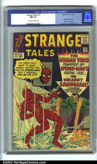 Strange Tales #115 (Marvel, 1963). CGC NM 9.4 Off-white to white pages. Origin of Dr. Strange; early Spider-Man crossove...