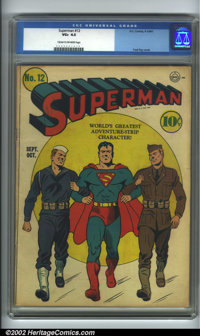 Superman #12 (DC, 1941). CGC VG+ 4.5 Cream to off-white pages. Overstreet 2001 GD 2.0 value = $211; FN 6.0 value = $633...