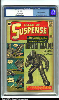 Tales of Suspense #39 (Marvel, 1963). CGC VF 8.0 Cream to off-white pages. Origin and first appearance of Iron Man. Over...