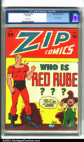 Golden Age (1938-1955):Superhero, Zip Comics #39 (M.L.J., 1943). CGC VF 8.0 Off-white pages. First Red Rube issue. Overstreet 2001 FN 6.0 value = $142; NM 9.4...
