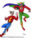 Original Comic Art:Miscellaneous, JE Smith - Justice Society Full Color Original Art (2002). Full-color rendition of two members of the legendary Justice Soci...