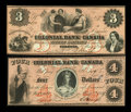 Canadian Currency: , Toronto, CW- The Colonial Bank of Canada $3, $4 May 4, 1859 Ch. #130-10-04-06, 130-10-04-08. ... (Total: 2 notes)