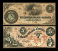 Canadian Currency: , Toronto, CW- The Colonial Bank of Canada $1, $5 May 4, 1859 Ch. #130-10-04-02, 130-10-04-10. ... (Total: 2 notes)