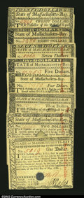 Colonial Notes:Massachusetts, Massachusetts May 5, 1780 Complete Set of Denominations....