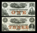 Canadian Currency: , Clifton, PC- The Bank of Clifton $1, $3 Oct. 1, 1859 Ch. #125-10-04-02, 125-10-04-04. ... (Total: 2 notes)