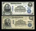National Bank Notes:Tennessee, Knoxville, TN - $5 1902 Date Back Fr. 594 The Holston NB Ch. #(S)4648. Paducah, KY - $20 1902 Plain Back Fr. 655 ... (Total: 2notes)
