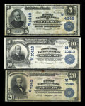 National Bank Notes:Oklahoma, Guthrie, OK - $5 1902 Date Back Fr. 595 The First NB Ch. # (W)4348. Kansas City, MO - $10 1902 Plain Back Fr. 630 ... (Total: 3 notes)