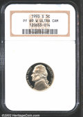 Proof Jefferson Nickels: , 1993-S 5C PR 69 Deep Cameo NGC. ...