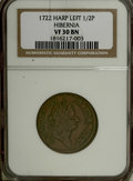 Colonials: , 1722 1/2P Hibernia Halfpenny, Type One, Harp Left VF30 NGC. . PCGSPopulation (1/48). (#167)...