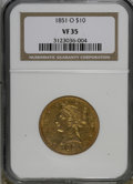 Liberty Eagles: , 1851-O $10 VF35 NGC. NGC Census: (16/711). PCGS Population(23/359). Mintage: 263,000. Numismedia Wsl. Price for NGC/PCGS c...