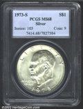 Eisenhower Dollars: , 1973-S $1 Silver MS68 PCGS. Mintage: 869,400. ...
