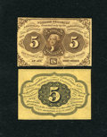 Fractional Currency:First Issue, Fr. 1231SP 5c Narrow Margin Pair First Issue Choice New.... (Total: 2 notes)