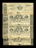 Obsoletes By State:Arkansas, Little Rock, AR- Arkansas Treasury Warrants $1.35, $10 (Uncut Pair), $10 1862 Cr. 26, 54, 55 Rothert 387-1, 393-1, 393-1. Th... (Total: 3 notes)
