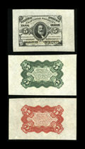 Fr. 1236/38SP 5¢ Third Issue Wide Margin Set of Three Gem New. The Face, as well as the Red and Green Backs, is bea...