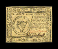 Continental Currency May 10, 1775 $8 Gem New. Pristine original paper surfaces, bold signatures and excellent margins on...