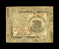 Continental Currency November 29, 1775 $1 Very Choice New. A near-Gem example of this desirable One Dollar Denomination...