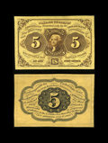 Fractional Currency:First Issue, Fr. 1231SP 5c First Issue Narrow Margin Pair Superb Gem New. This strictly original, beautifully bright pair have been cut d... (Total: 2 notes)