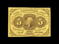 Fractional Currency:First Issue, Fr. 1230 5¢ First Issue Superb Gem New. Just about as nice as these come, with fresh, original paper surfaces, broad margins...