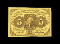 Fr. 1230 5¢ First Issue Superb Gem New. Just about as nice as these come, with fresh, original paper surfaces, broa...