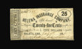 "Obsoletes By State:Arkansas, Helena, AR- Helena Insurance Co. 25¢ July 1, 1861 Rothert 281-1B. The very scarce variety which lacks the words ""Confederate..."