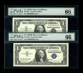 Small Size:Silver Certificates, Fr. 1621 $1 1957B Silver Certificate. PMG Gem Uncirculated 66.. This pair boasts matching, single digit serial numbers, R000... (Total: 2 notes)
