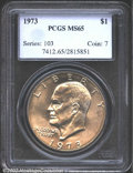 "Eisenhower Dollars: , 1973 $1 MS65 PCGS. Mintage: 2,000,056. The latest Coin World ""..."