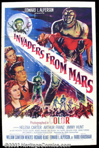 """Invaders From Mars (20th Century Fox, 1953) One Sheet (27""""X41"""") Beautiful science fiction poster for one of th..."""