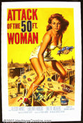 "Movie Posters:Science Fiction, Attack of the 50 Ft. Woman (Allied Artists 1958) One Sheet (27"" X 41"") This $65,000. quickie shot in eight days has become ..."