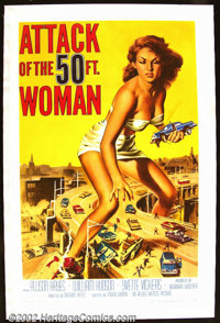 "Attack of the 50 Ft. Woman (Allied Artists 1958) One Sheet (27"" X 41"") This $65,000. quickie shot in eight day..."