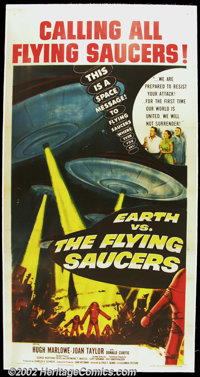 "Earth vs. the Flying Saucers (Columbia 1956) Three Sheet (41"" X 81"") Very Fine on Linen"