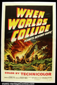 """When Worlds Collide (Paramount, 1951). One Sheet (27""""X41"""") This early science fiction epic by George Pal was h..."""
