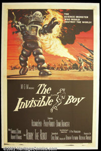 """The Invisible Boy (MGM, 1957). One Sheet (27""""X41"""") Using the leftover robot from """"Forbidden Planet""""..."""