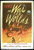 "Movie Posters:Science Fiction, The War of the Worlds, (Paramount, 1953). One Sheet (27""X41"") This H.G. Welles story was bought by Cecil B. DeMille in the ..."