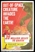 "Movie Posters:Science Fiction, 20 Million Miles to the Earth (Columbia, 1957). One Sheet (27""X41"") In one of the best science fiction films of the fifties..."