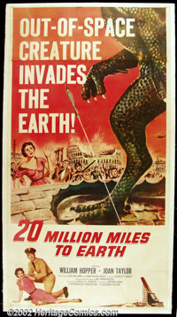 "20 Million Miles to Earth (Columbia, 1957). Three Sheet (41""X81"") Offered here is another format for the very..."