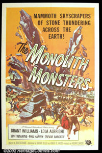 """The Monolith Monsters (Universal, 1957). One Sheet (27""""X41"""") Fantastic Reynold Brown artwork graces this prize..."""