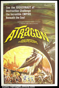"""Atragon (American International, 1964). One Sheet (27""""X41"""") Noted artist Reynold Brown illustrated this poster..."""